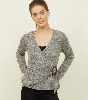 Grey Marl Fine Knit  Buckle Side Wrap Top