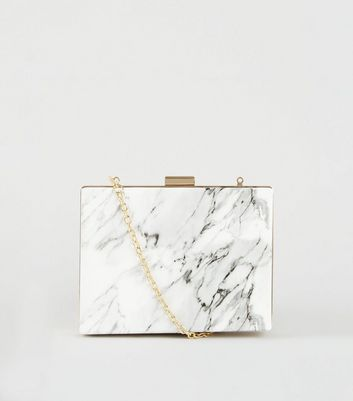 White Marble Effect Box Clutch Bag by New Look