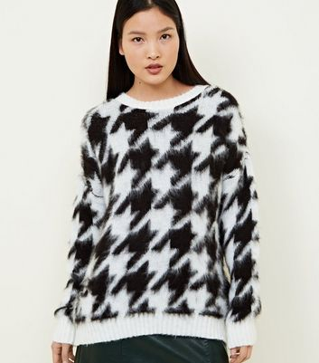 Black Brushed Houndstooth Oversized Jumper