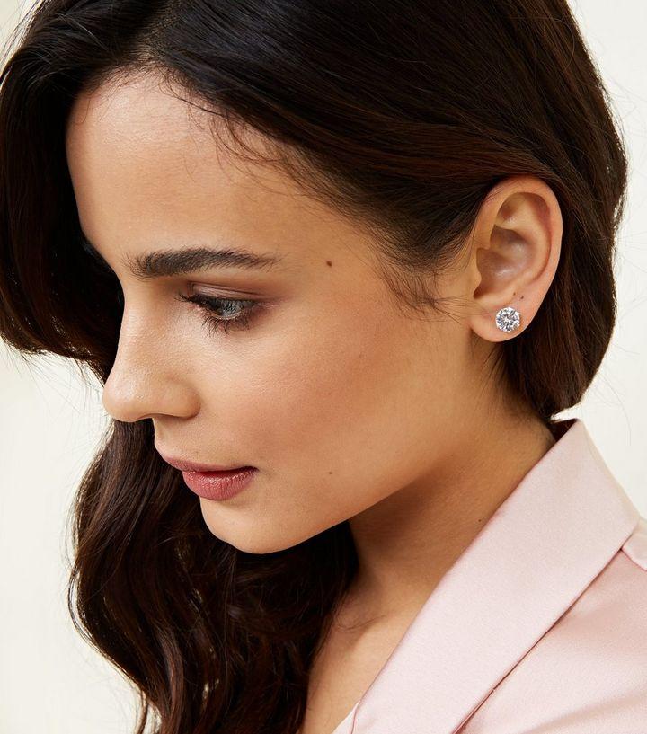 Crystal Cubic Zirconia Stud Earrings New Look