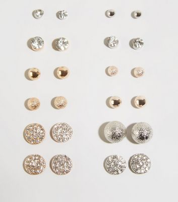 12 Pack Multicoloured Stud Earrings