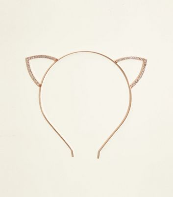 Rose Gold Diamanté Cat Ears