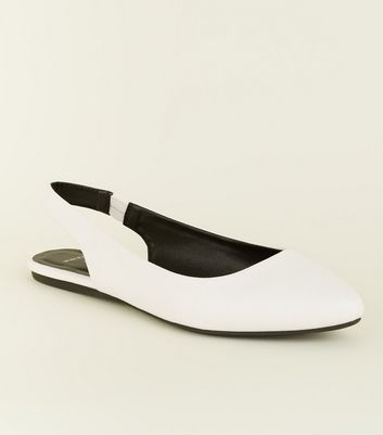 Wide Fit White Leather-Look Slingback