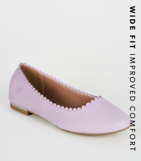 81d454b24 ... Wide Fit Lilac Scallop Edge Ballet Pumps ...