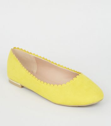 Wide Fit Yellow Scallop Edge Ballet Pumps