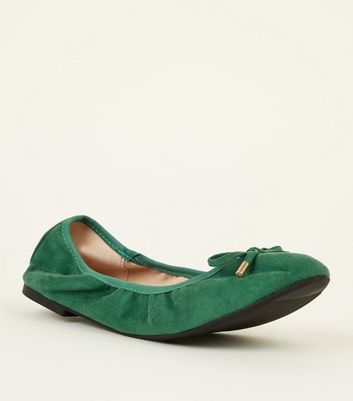 Wide Fit Dark Green Suedette Elastic Ballet Pumps by New Look