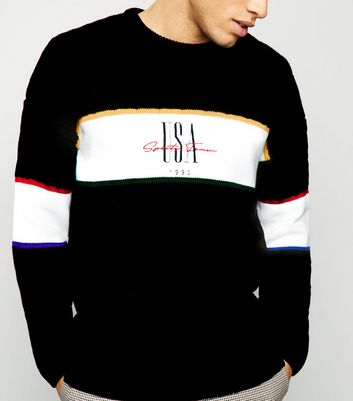 Black USA Slogan Colour Block Jumper