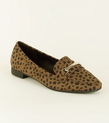 Wide Fit Khaki Animal Print Suedette Loafers