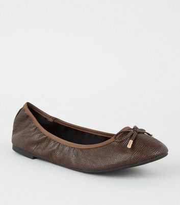 Wide Fit Rust Faux Croc Elasticated Ballet Pumps