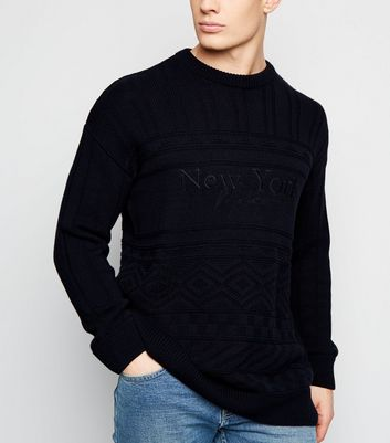 Navy New York Slogan Cable Knit Jumper