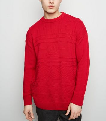 Dark Red USA Slogan Cable Knit Jumper