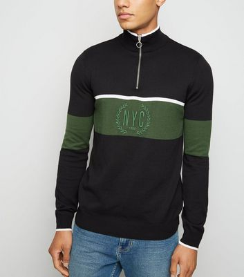 Green Colour Block NYC Slogan Jumper