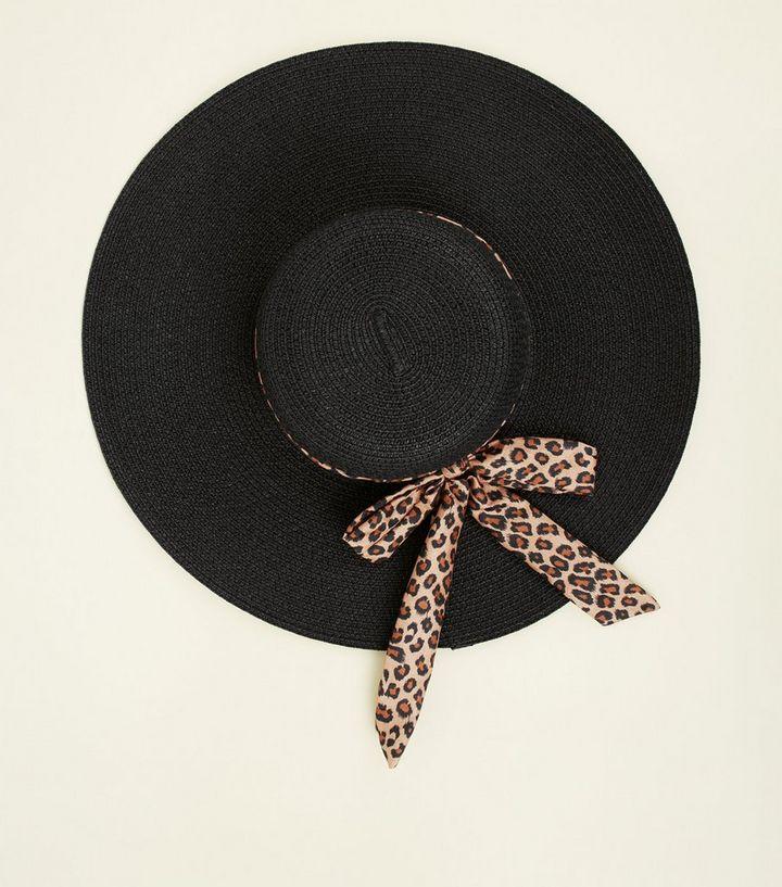 b736938b5ab72 Brown Leopard Print Ribbon Floppy Hat