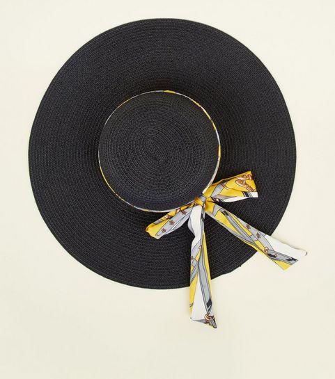 b57bcfb4b36f1 ... Yellow Chain Print Ribbon Floppy Hat ...