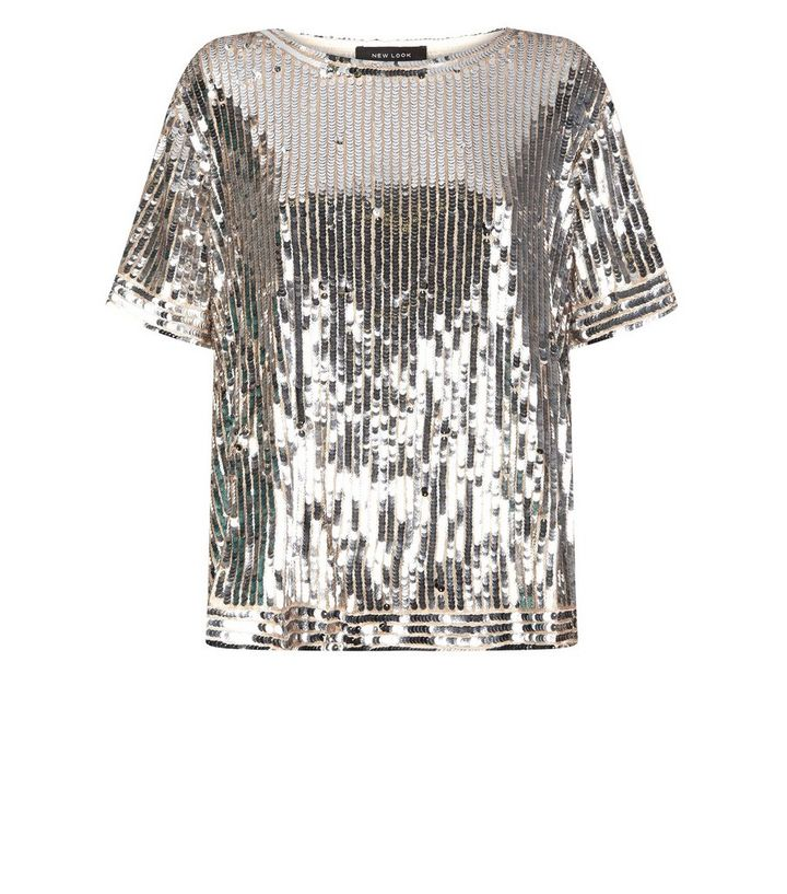 top-rated latest novel style forefront of the times Silver Sequin Embellished T-Shirt Add to Saved Items Remove from Saved Items