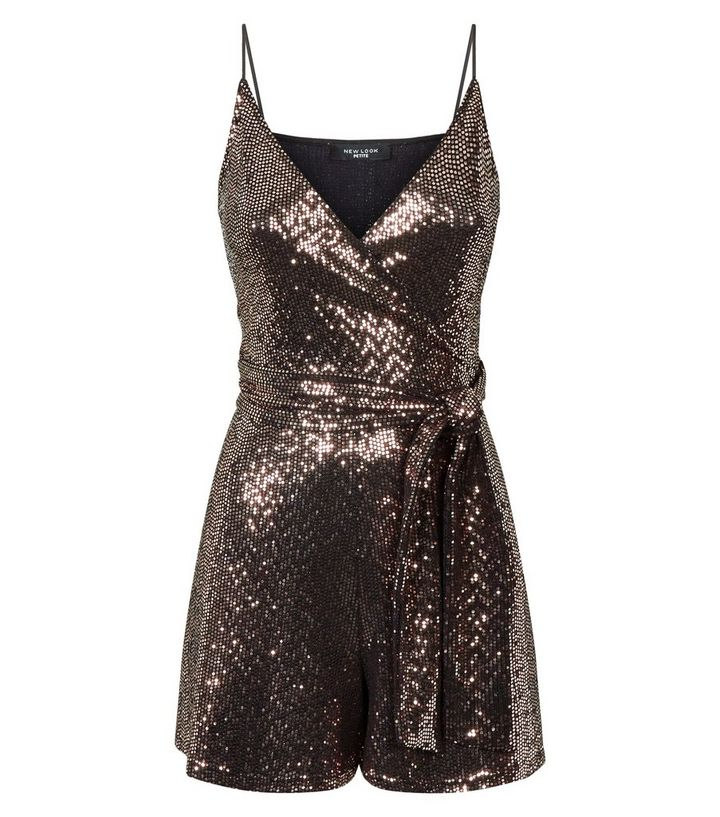 1c1712f6adf ... Petite Bronze Sequin Wrap Front Playsuit. ×. ×. ×. Shop the look