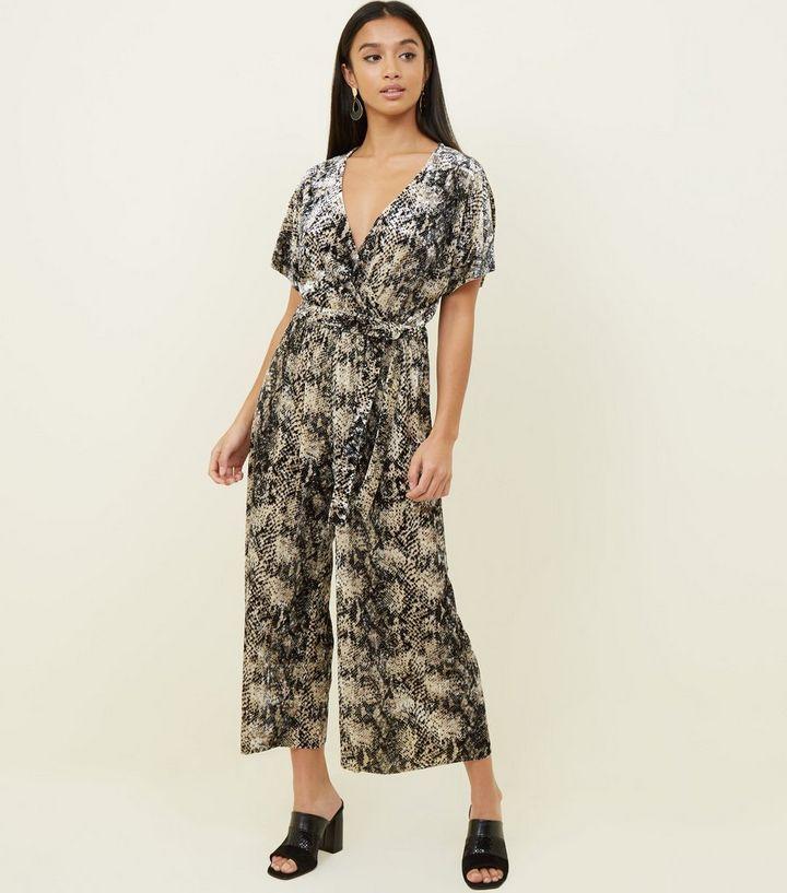 37998807e0a7 Petite Brown Velvet Snake Print Wrap Jumpsuit