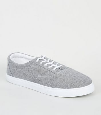 Grey Canvas Lace Up Plimsolls