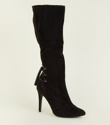 Wide Fit Black Lace Up Knee High Stiletto Boots