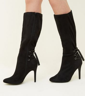 Wide Fit Black Lace Up Knee High