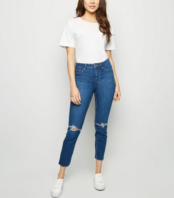 Blue Ripped Mid Rise Skinny Jenna Jeans