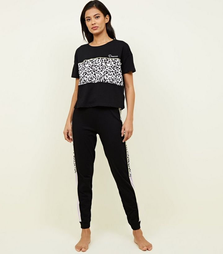 cc6634b57fdc Black Animal Print Stripe Pyjamas Set   New Look