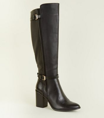 Black Faux Croc Detailing Leather-Look High Boot
