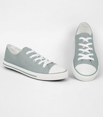 Grey Canvas Lace Up Trainers | New Look