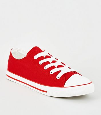 Red Lace-Up Canvas Trainers