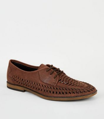 Brown Leather-Look Woven Lace Up Shoes