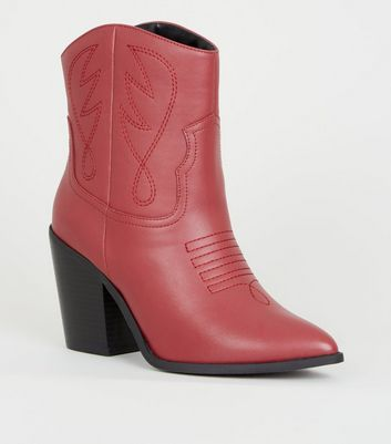 Red Leather-Look Western Calf Boots