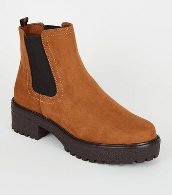 Tan Suedette Chunky Chelsea Boots