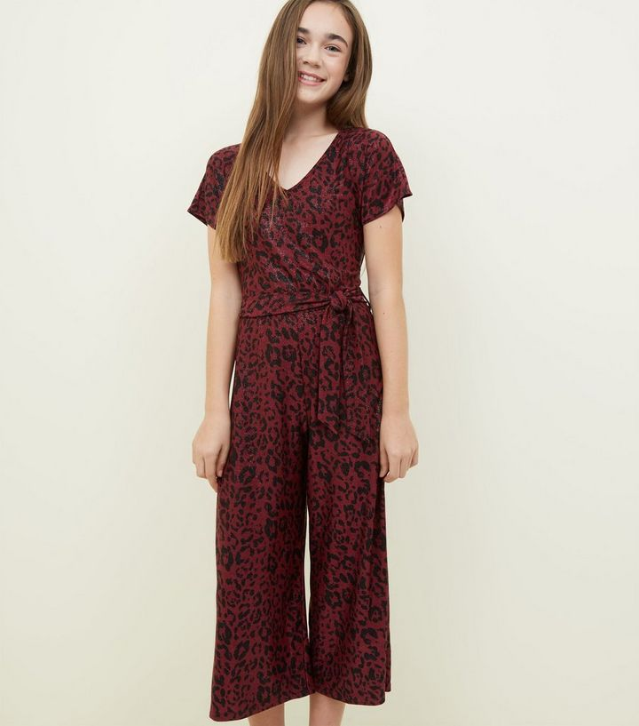 3615c51f4f Girls Red Metallic Leopard Print Jumpsuit
