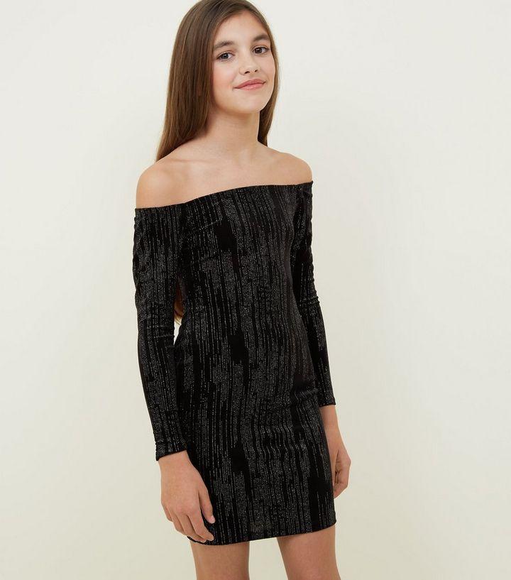 79601694bebc Girls Black Glitter Velvet Bardot Bodycon Dress | New Look
