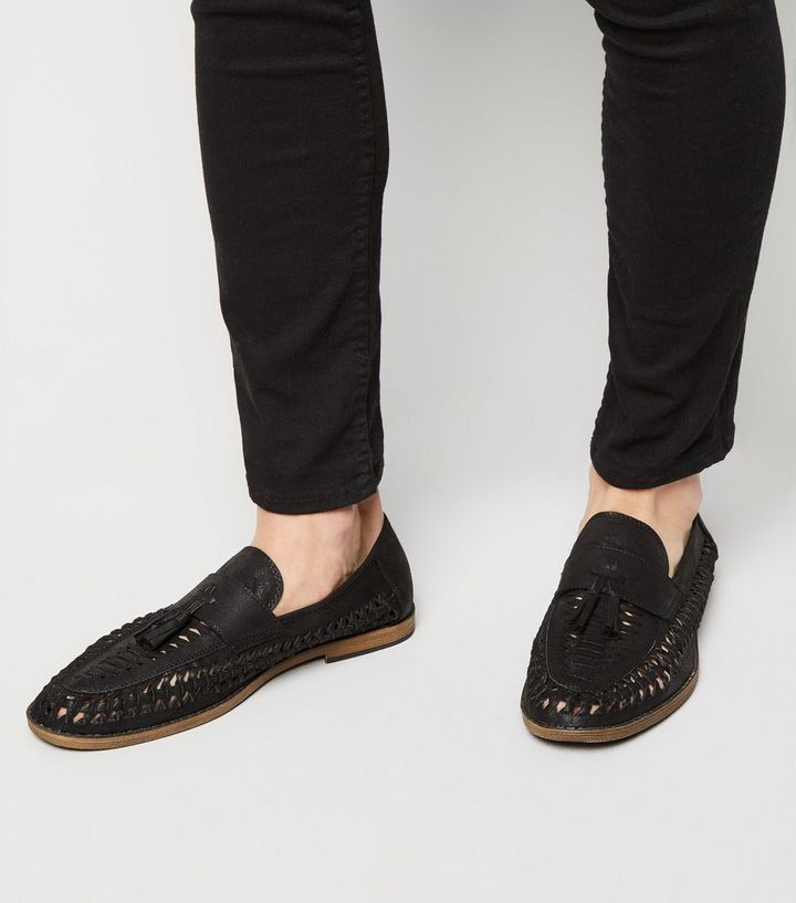 392153fd003bf Black Woven Tassel Front Loafers   New Look