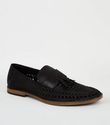 Black Woven Tassel Front Loafers