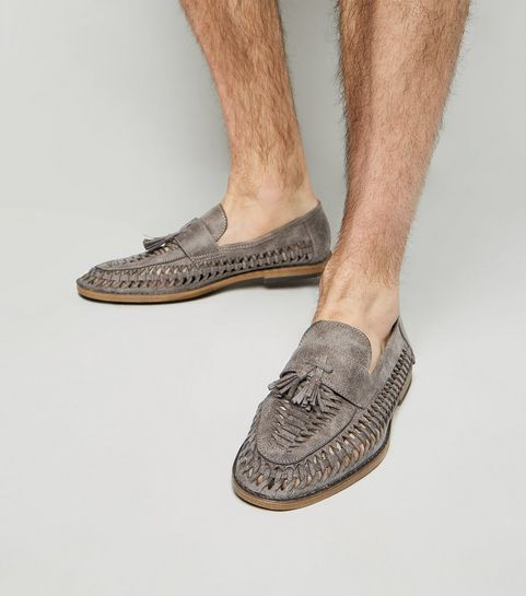4b7671644c9d7c ... Grey Woven Tassel Front Loafers ...