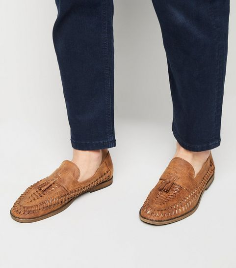 e75ff9fdfff57d ... Tan Woven Tassel Front Loafers ...