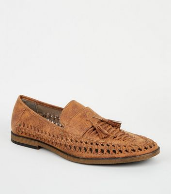 Tan Leather-Look Cut Out Tassel Front Loafers