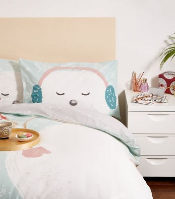 Pale Blue Snowmies Double Duvet Set