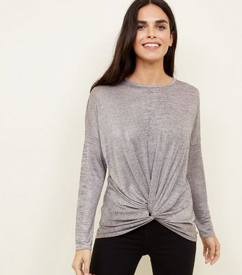 Pale Pink Metallic Twist Front Oversized Top