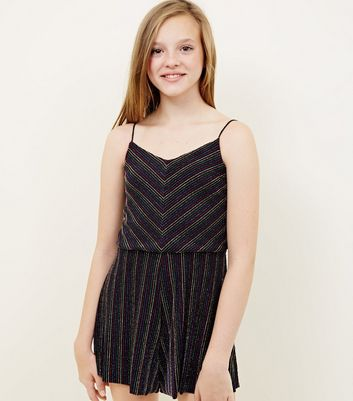Girls Rainbow Glitter Stripe Playsuit