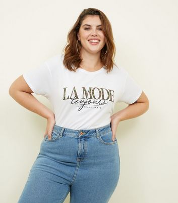 Curves White La Mode Camo Slogan T-Shirt