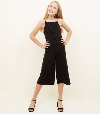 Girls Black Glitter Twist Front Jumpsuit