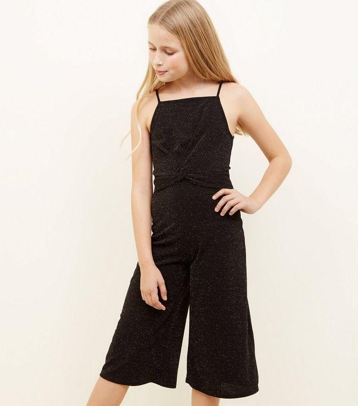2445cd5df3a2 ... Girls Black Glitter Twist Front Jumpsuit. ×. ×. ×. Shop the look