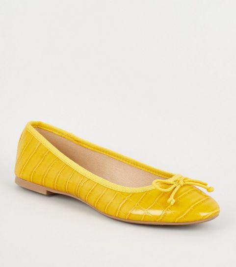 5d5ae917962 ... Yellow Faux Croc Bow Ballet Pumps ...