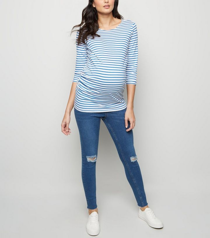 e7f73102724c5 Maternity Blue Ripped Knee Under Bump Skinny Jeans | New Look