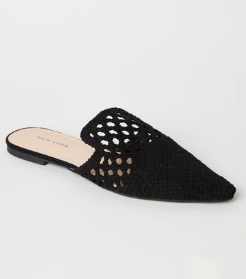 Black Woven Suedette Pointed Mules