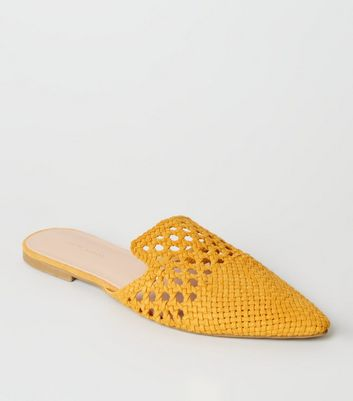 Mustard Woven Suedette Mules