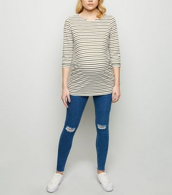 Maternity Blue Ripped Knee Over Bump Skinny Jeans